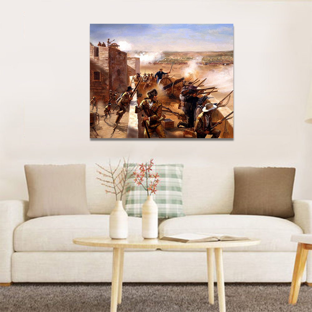 Unframed Canvas Print Texas Revolution Oil Painting Western Picture Prints Wall Picture For Living Room Wall Art Decoration