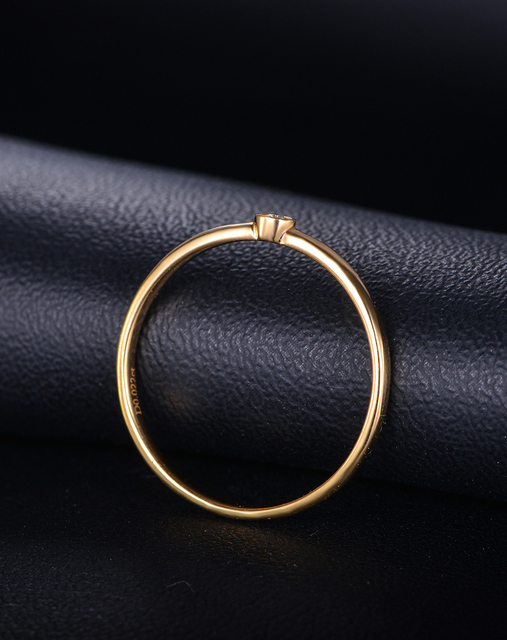 Women 100% Genuine 18K Gold (Au750) Real 0.02 CT Certified Diamond Wedding Engagement Ring