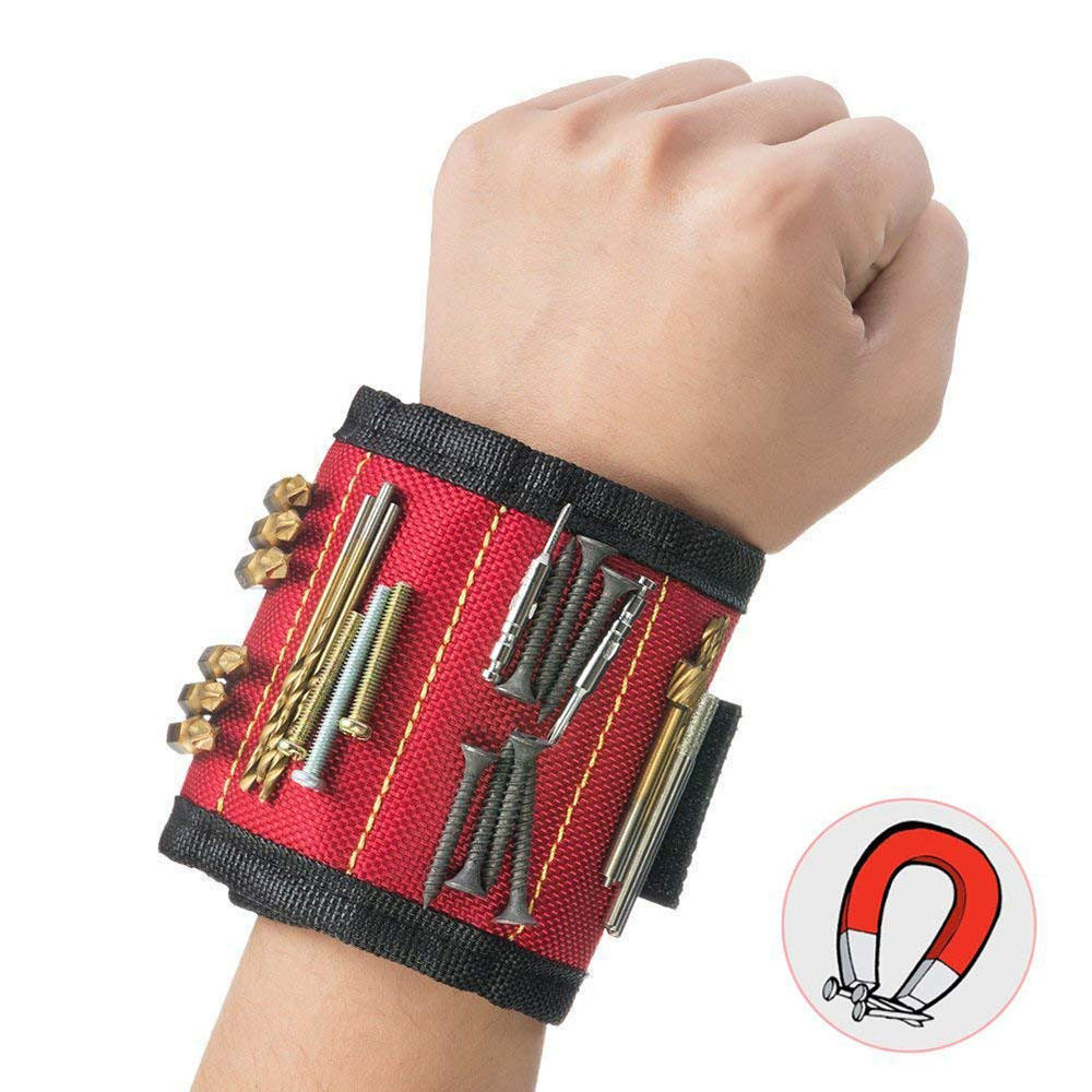 3 Rows Polyester Magnetic Wristband Portable Tool Bag Electrician Wrist Tool Belt Screws Nails Drill Bits Holder Repair Tools