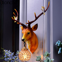 Nordic Creative Deer Wall Lamp Resin Antlers Wall Sconce Dining Room Bedroom Stair Lamp Home Art Decor Light Fixtures Luminaire
