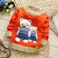 Весна/Осень Корейских мальчиков и девочек мультфильм 2 медведи пуловеры свитера, V514B