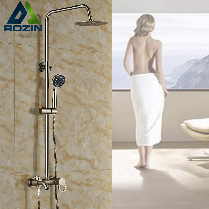 Nickel Brushed Bathroom In-wall Shower Mixer Taps Single Handle Outdoor Bathtub and Shower Faucet Set brushed nickel waterfall shower mixer taps wall mount single handle with handshower bath shower faucet set