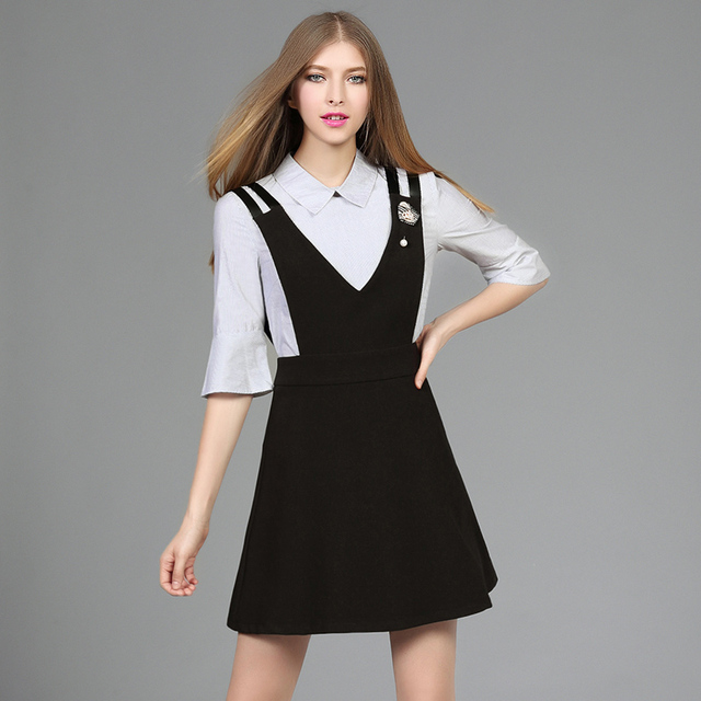 Europen New Spring Women Slim Skirt Sets Doll Collar blouse+Deep V Collar Suspender skirt female Two piece suit Skirt Sets 2509