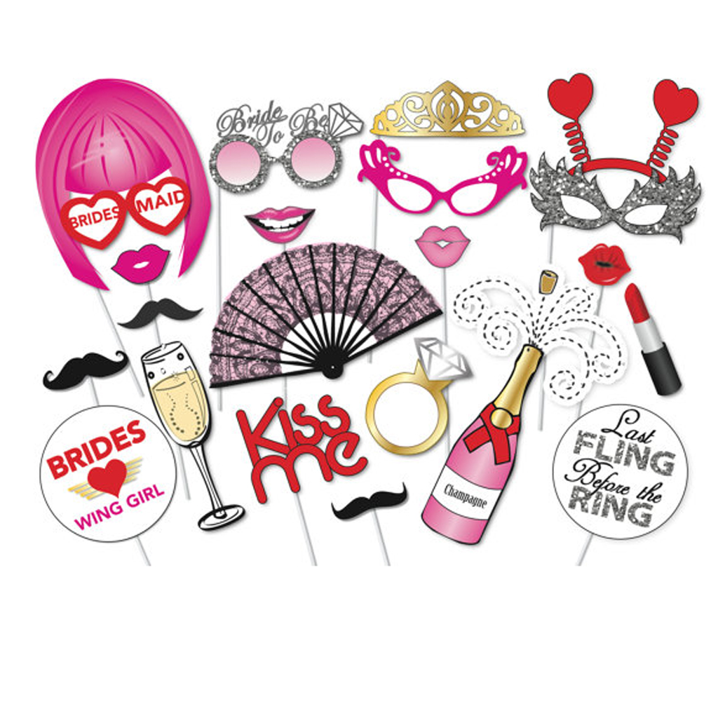 22pcs hen party photo booth props kit night games accessories favors