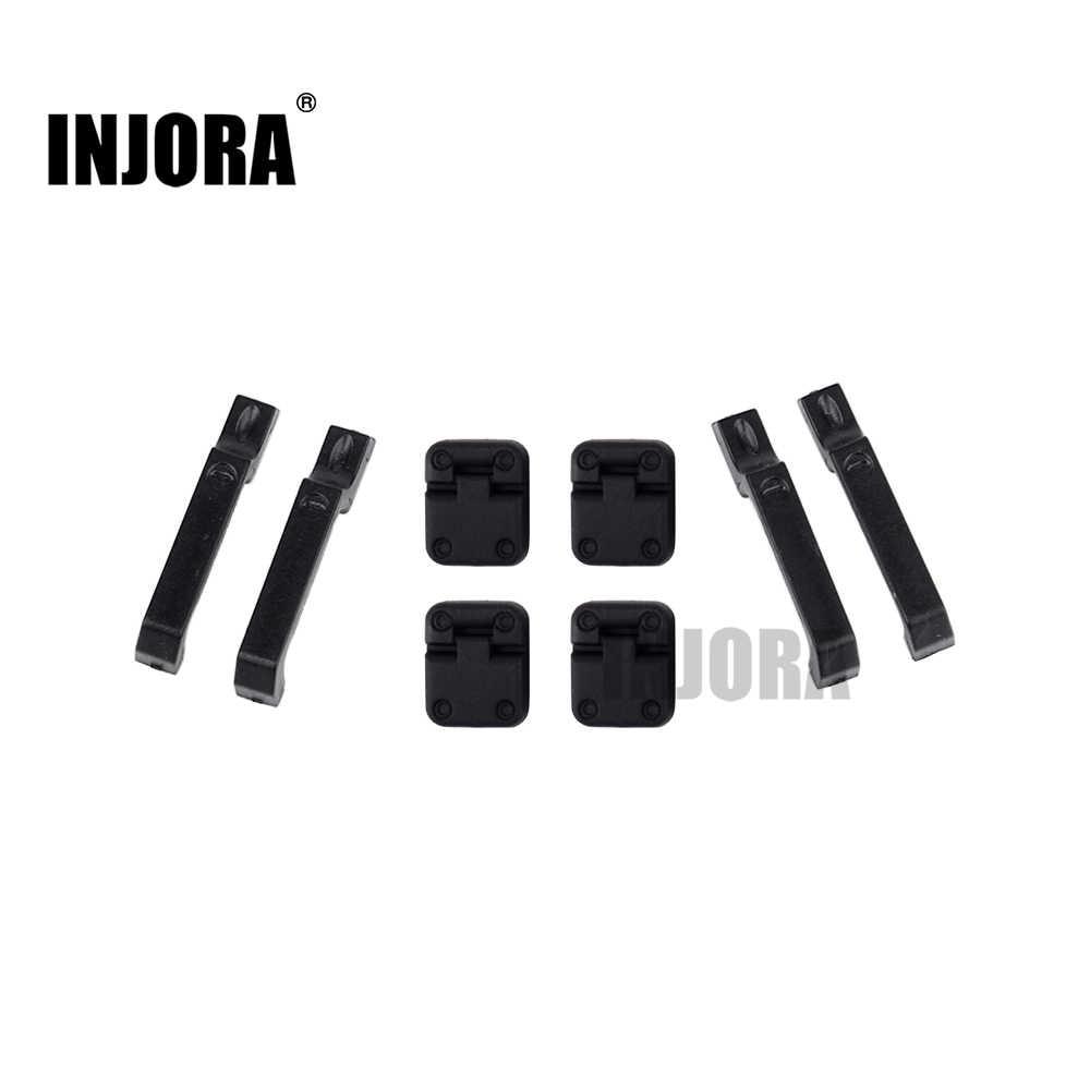 INJORA 1 ชุดสีดำประตูรถพลาสติกบานพับประตูจับสำหรับ 1:10 RC Crawler Traxxas TRX-4 TRX4