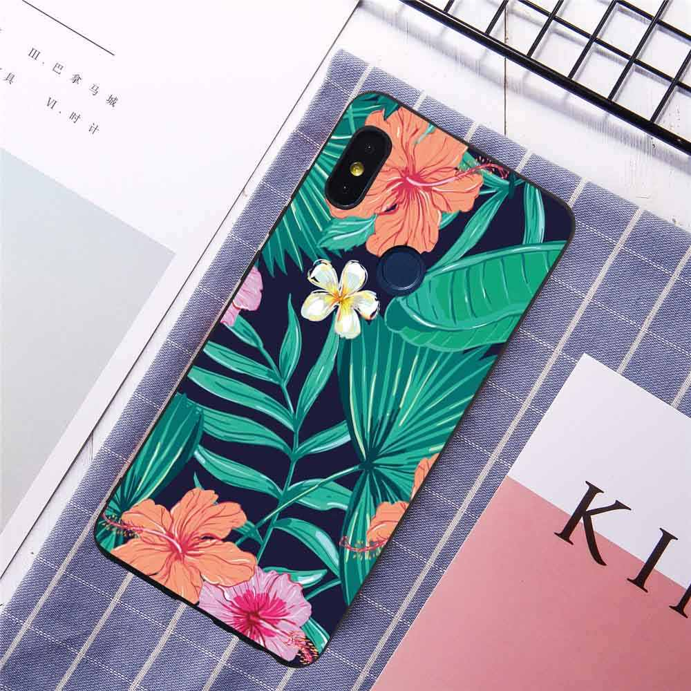 Para redmi nota 6 pro 6a s2 caso de telefone xiaomi 8 se 8se 6x 5x a1 a2 belas flores folhas moda capas peles coqe coque