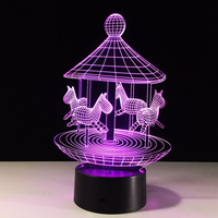 Merry Go Round 3D Illusion LED Night Light 7Colors Table Lamp Novelty Product Light With Touch
