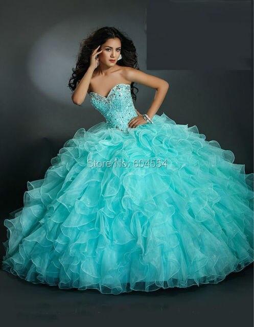 194fc75bf6c New Custom Made Debutante Dress Shining Blue Satin Organza Crystal Beading Ruffles  Strapless Vestidos De Quinceanera