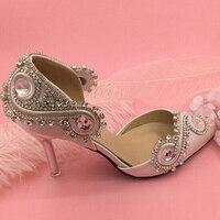 Атласная Свадебная Обувь Острым Носом Высокой Пятки Великолепные Пром Туфли Невесты Обуви Горный Хрусталь Кристалл Свадебная Обувь