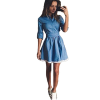 Casual A Line Dresses Blue Top Quality 2016 Demin Dress Elagent Female Peplum Flower Lace Vestido