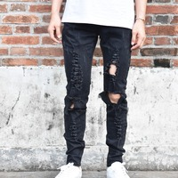 2017 Men Fashion Crush Slim David Destroyed Denim ripped Fear of god men's jeans pants Biker trousers Kanye West IMCB Store