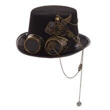 Готический Унисекс Череп Крылья очки топ шляпа Винтаж стимпанк шестерни Вечерние черные шляпы