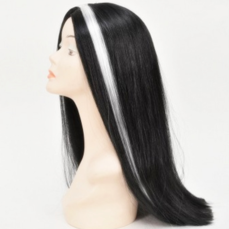 Black White highlight Girls Women Long Straight hair set cosplay Peluca Peruca headwear  ...