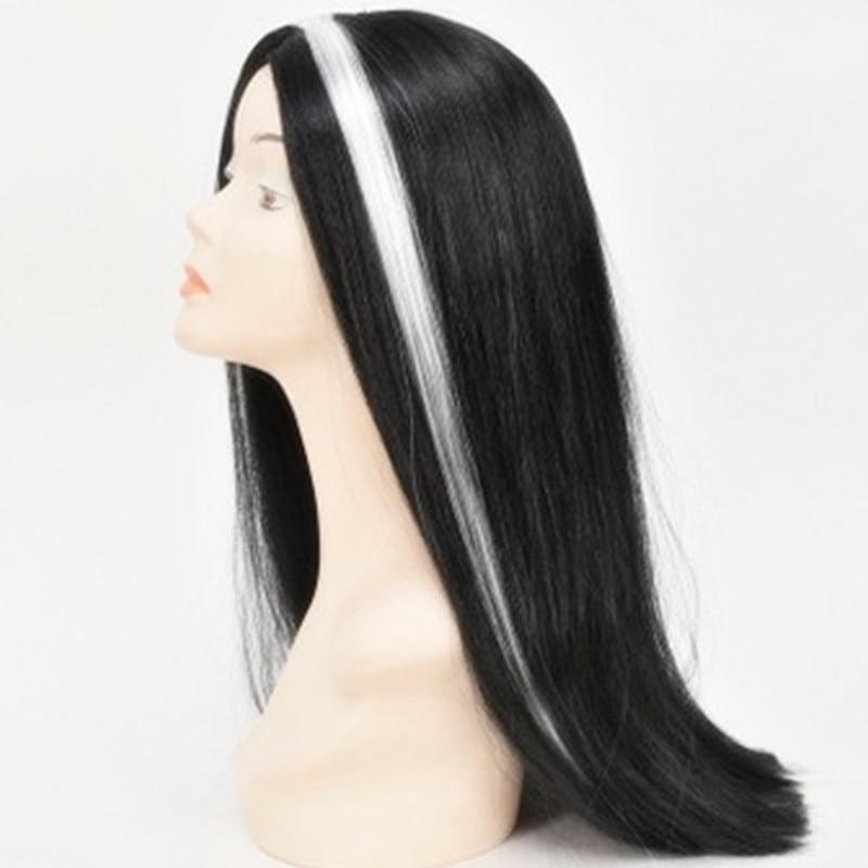 Black White highlight Girls Women Long Straight hair set cosplay Peluca Peruca headwear  ...