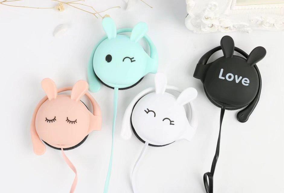 TYAYA 2017 Cute Earphone Rabbit Music Earphones Ear Hook Headset with Microphone Soft Earbuds Good Gift for Grils a-109
