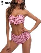 Women Swimwear New Style Swimsuit Plaid Pleated Bowknot Bikini Suit Dot Printed