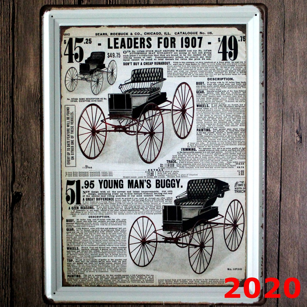 LEADERS FOR 1907 large Vintage license plate Metal signs home decor Office Restaurant Bar Metal Painting art 30x40 cm