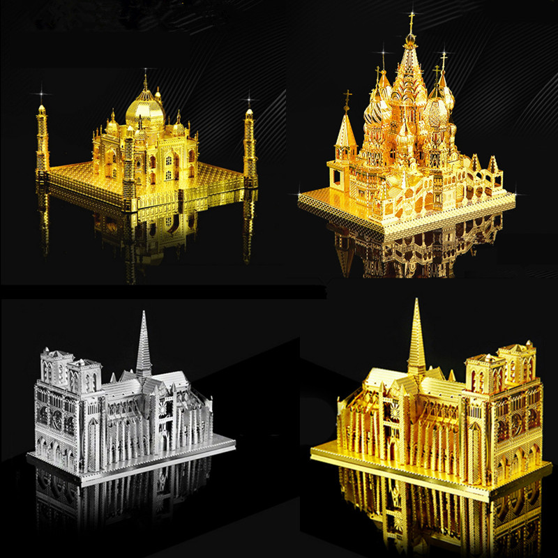 High Quality 3D Metal Puzzle Educational Toys Jigsaw Puzzles Basil's Cathedral Taj Mahal Notre Dame Building Model DIY Kids Toys