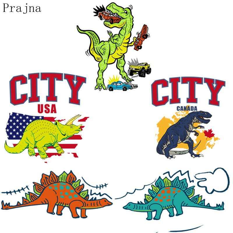 בפראנה ברזל העברת חום ויניל קריקטורה דינוזאור תיקון ברזל על העברות עבור בגדי Parches מעיל בד תיקון תג סיטונאי