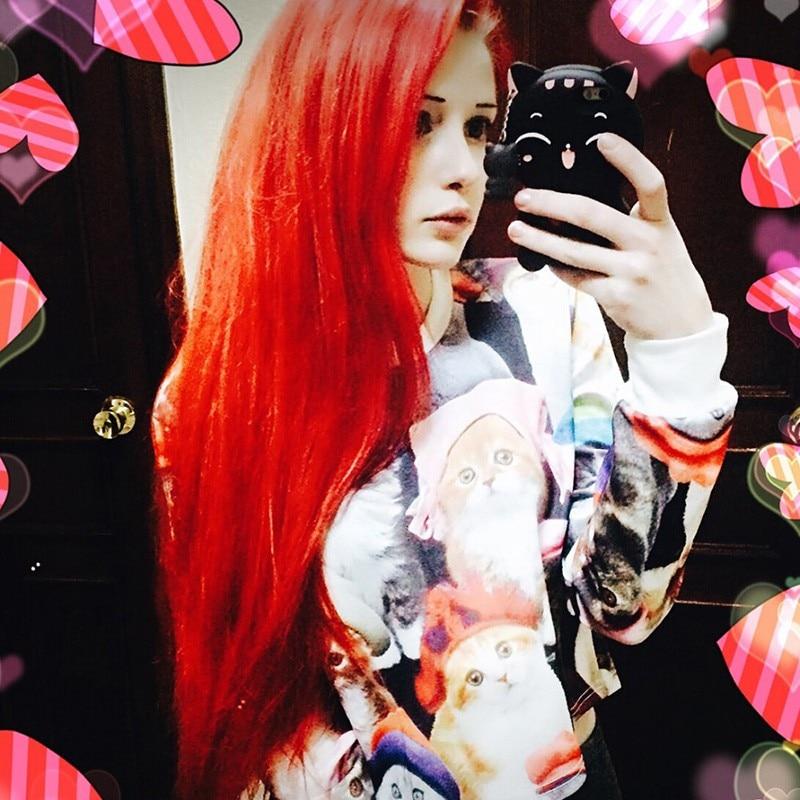KaiTingu 2017 Осень Женщины Повседневная Пуловер Harajuku Мода Растениеводство Топы Шею Длинным Рукавом Дамы Cat Короткие Обрезано Толстовка