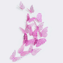 36 Pcs/set New Arrival Pink/Gold/Silver 3D Double Butterfly Wall Fridage Stickers Decals Hollow Butterflies DIY Decor Poster
