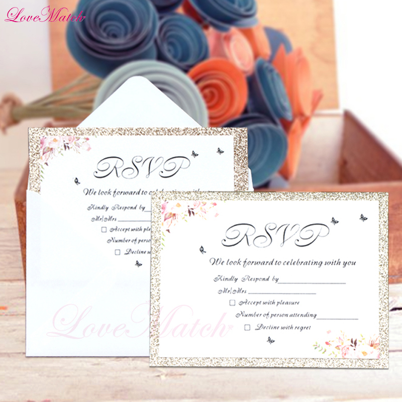 5pcs/lot Flower Invitation Card Print Blank Page Wedding Birthday Party Greeting Card Wedding Party Cards With Envelope