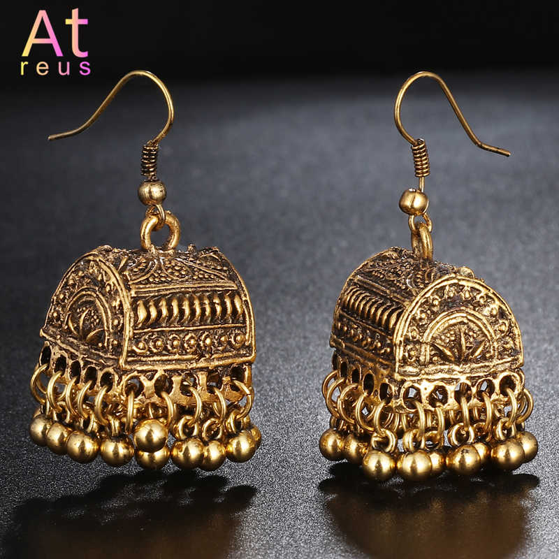 Gypsy Afghan Jewelry Retro Ethnic Silver Indian Jhumka Box Cage Bells Beads DropTassel Earrings for Women Bohemian Pendiente Gif