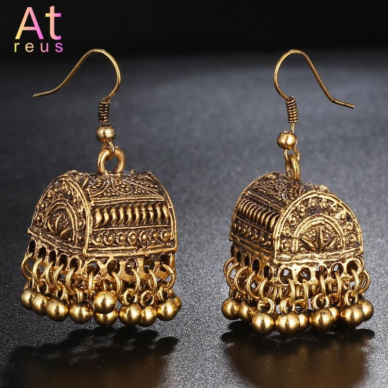 Gypsy Afghan Jewelry Retro Ethnic Silver Indian Jhumka Box Cage Bells Beads DropTassel Earrings For Women Bohemian Pendiente Gif