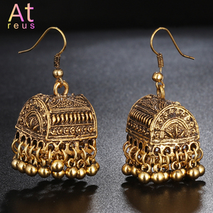 Gypsy Afghan Jewelry Retro Ethnic Silver Indian Jhumka Box Cage Bells Beads DropTassel Earrings for Women Bohemian Pendiente Gif(China)