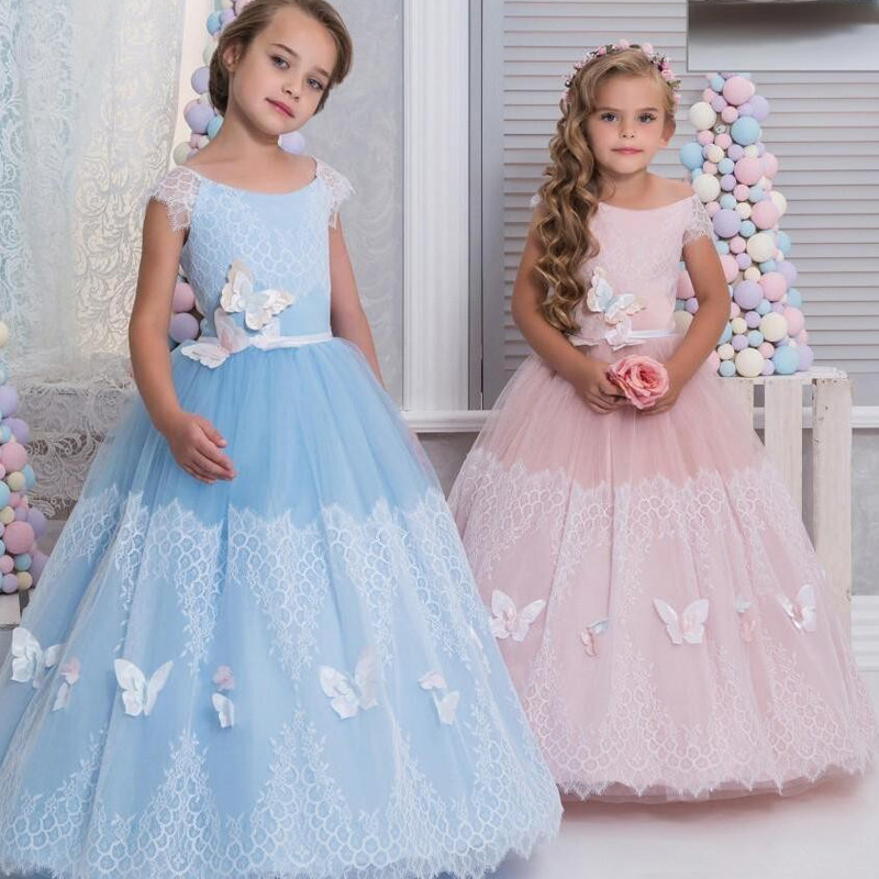 2017 New Pink Flower Girl Dresses Ball Gown With Butterfly Christmas Party Gown Tulle Appliques Lace Cap Sleeves Pageant Dress
