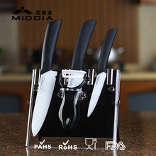 Middia 5pcs ceramic kitchen knife set with block ceramic paring knife+santoku knife+chef's knife+peeler