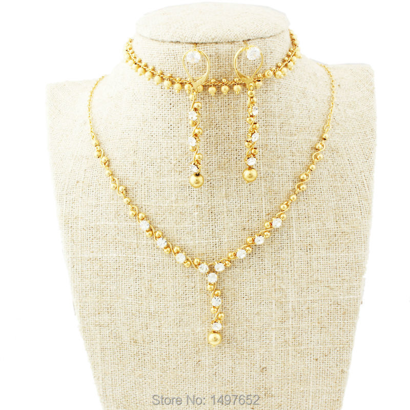 Luxury Bridal WeddingJewelry set . Gold Color Crystal Necklace/Earring/Bracelet Ethiopian/Middle EastAfrican/Nigeria Jewelry