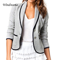 Elegant Blazer Feminino Button Down Lapel Blazer Women Long Sleeve Work Wear Jaqueta Feminina Notched Single Breasted