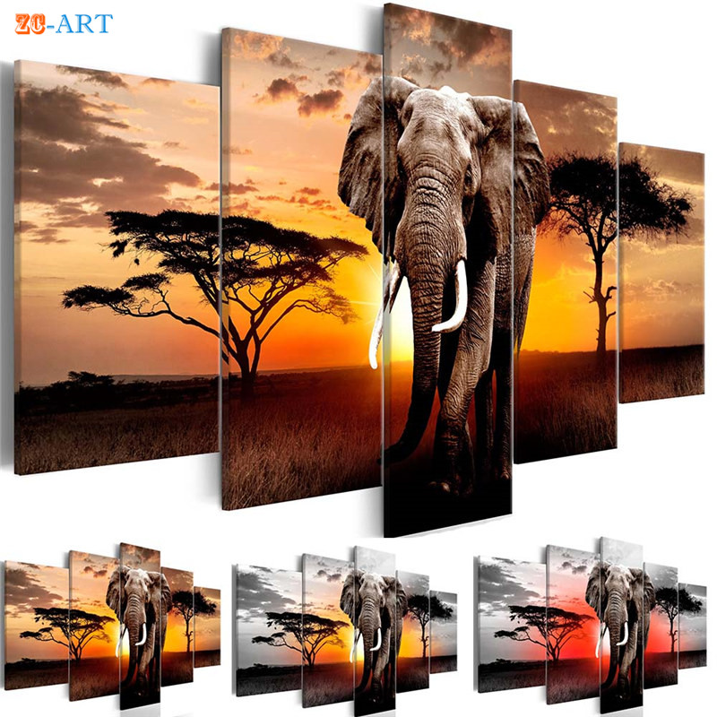 Canvas Art 5 Pieces Elephants Print African Sunset Poster Wild Animal Poster Wall Art Modular Pictures Living Room Home Decor