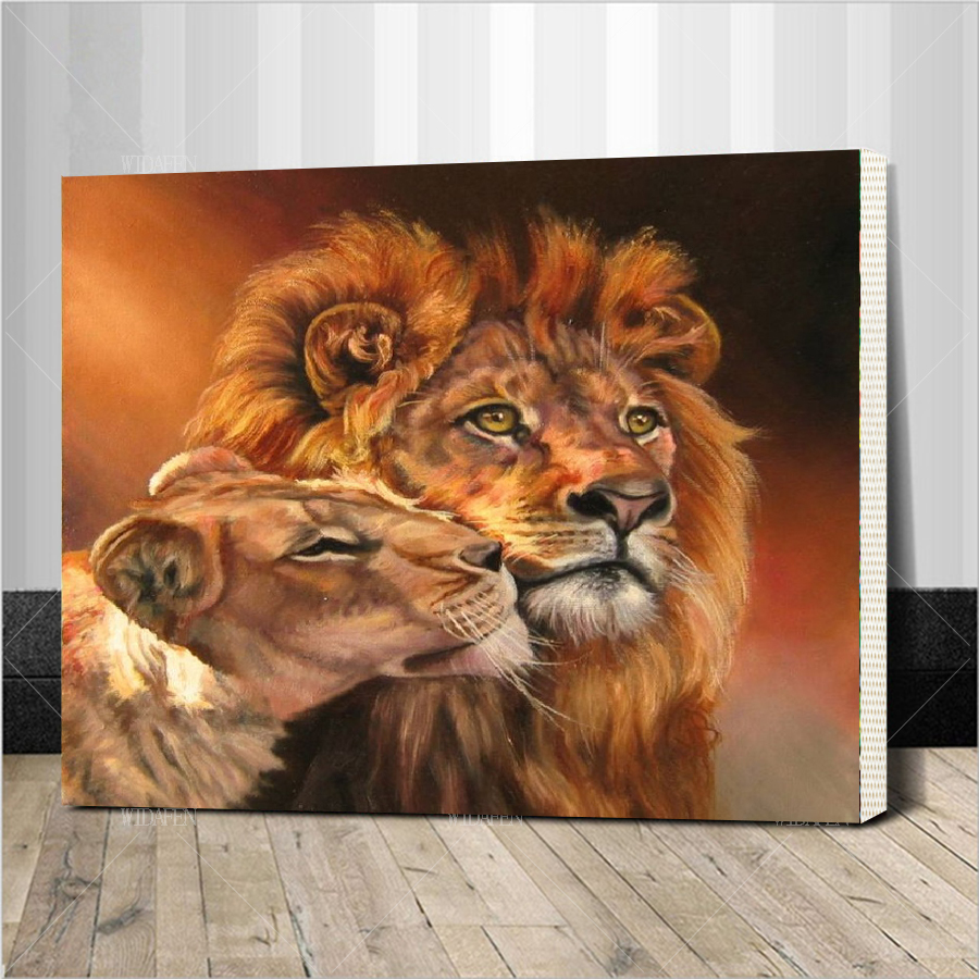 Assembly frame diy digital painting Animal lion picture On Canvas Painting By Numbers Hand Painted Oil Home Decoration