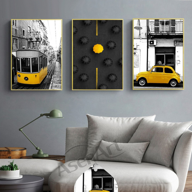 Modern Art Wall Modern City and Yellow Cars Canvas Painting Posters Artwork Pictures Printed for Living Room  Home Decoration