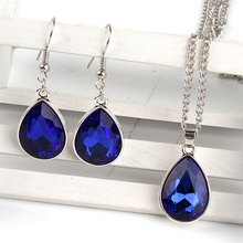 1set Vintage silver Water drop Pendant Necklace & earrings Fashion Jewelry blue