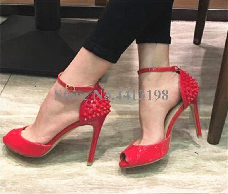 Femmes Sexy Mince Picture Super Picture Base Chaussures Toe D'été Doux Talon As as Robe De Sangle Boucle Couverture Rivet Mélangées Haute Talons Peep Couleurs Sandales DY9HIWE2