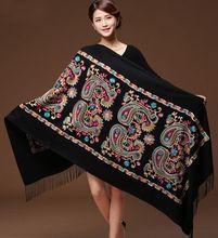 여자 블랙 자수 꽃 Pashmina 캐시미어 스카프 겨울 따뜻한 좋은 Tassels 스카프 특대 목도리 패션 목도리 스카프