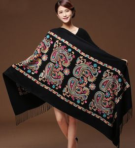 Image 1 - Women Black Embroider Flower Pashmina Cashmere Scarf Winter Warm Fine Tassels Scarf Oversize Shawl Fashion Shawl Scarves