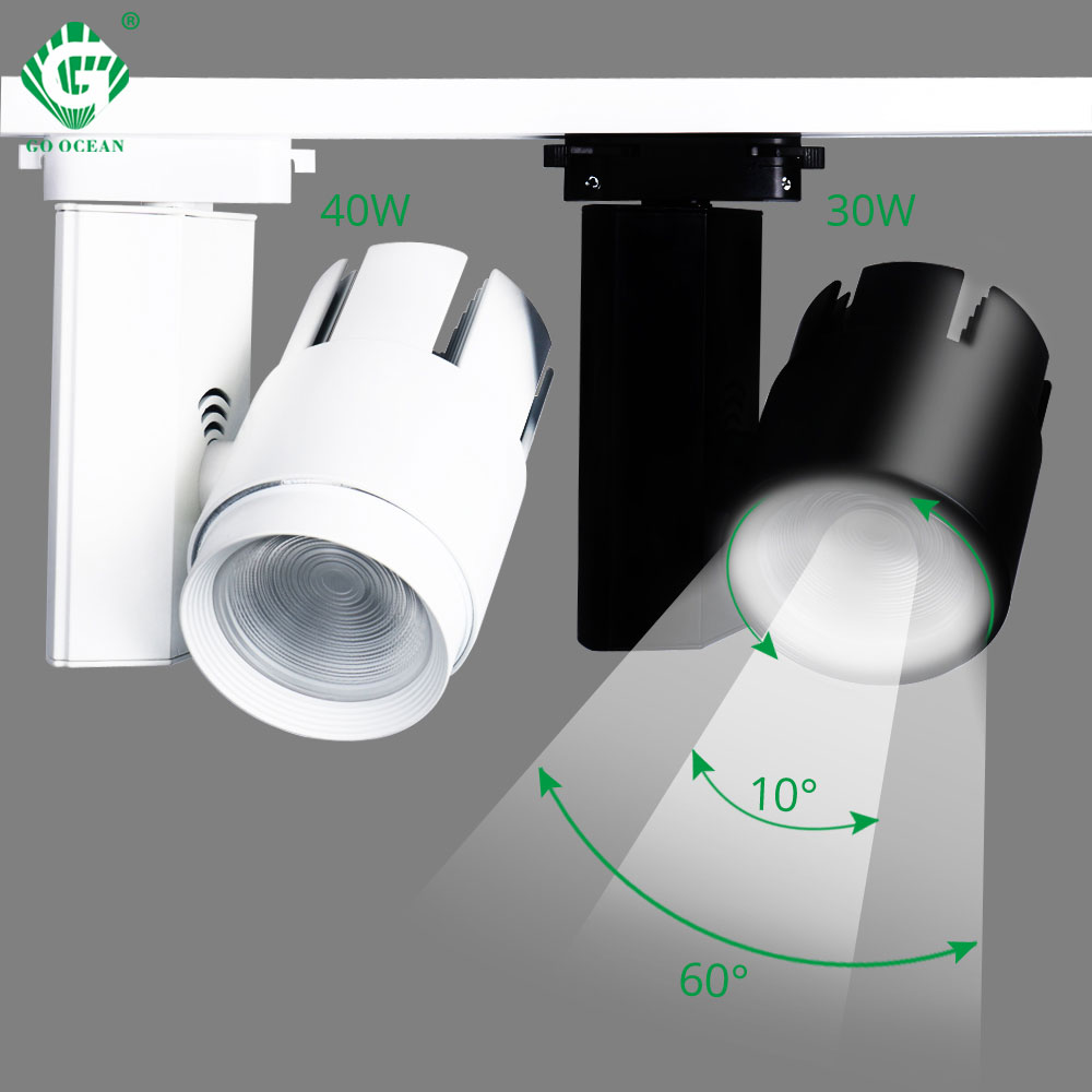Modern Dimmable Led Track Lights 30W 40W Rail Spotlight Clothing Shop Showrooms Windows Ceiling Zoomable Track
