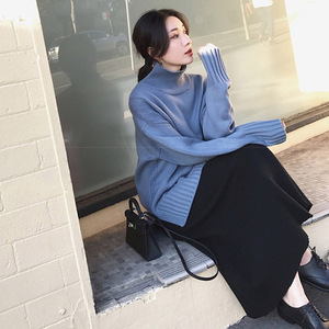 Image 5 - 2019 Winter Women Midi Skirts Korean Casual Ladies A line Flare High Waist Solid Knitted Knit Thick Long Sweater Skirt Women