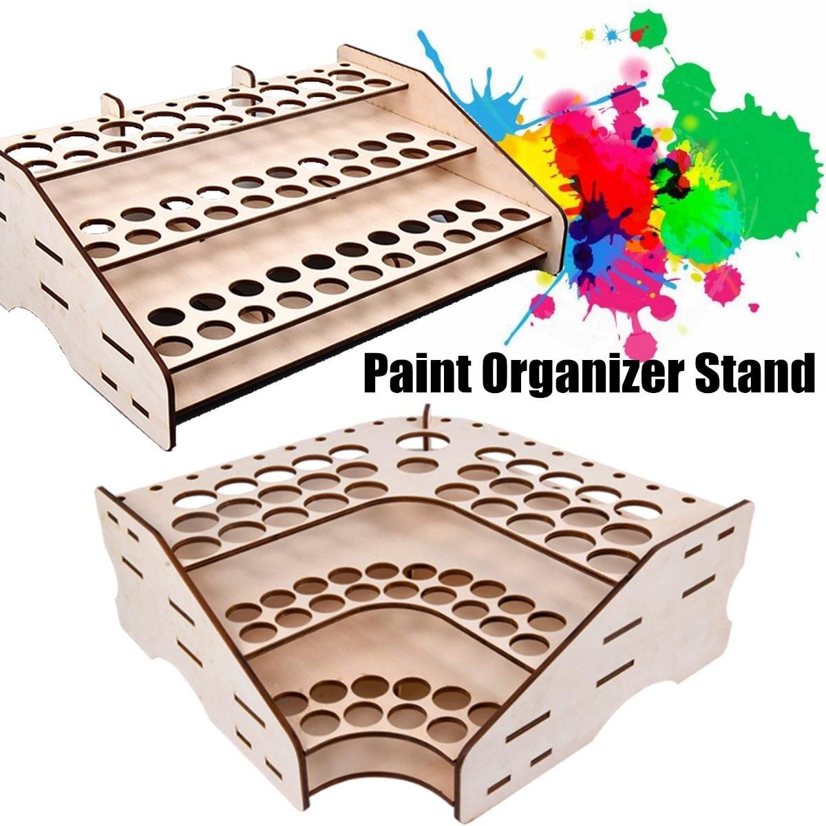 74/81 Bottles Wooden Pigment Bottle Storage Organizer Color Paint Ink Brush Stand Rack Modular Holder Home School 3 Layers
