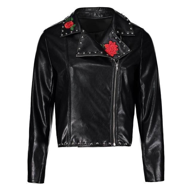 84804d766d3 Plus Size Faux Leather Jackets Women Black Embroidery Rose Lapel Zipper  Zipper PU Coats Short Fashion Cool Punk Rivet Jacket