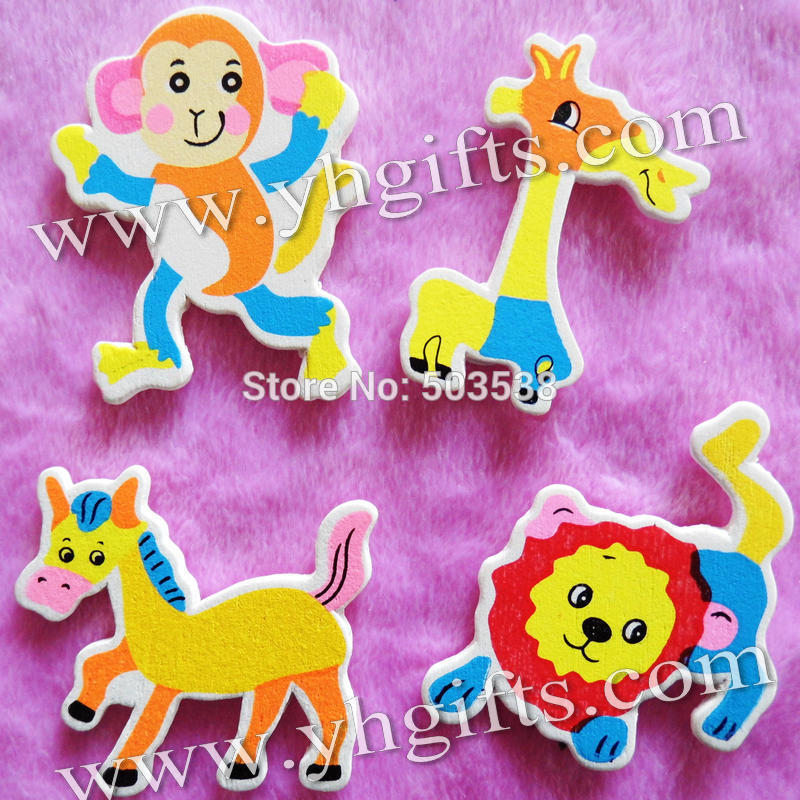 50PCS/LOT.Cute zoo animal wood stickers,Kids toys,scrapbooking kit,Early educational DIY.Kindergarten crafts.Classic toys