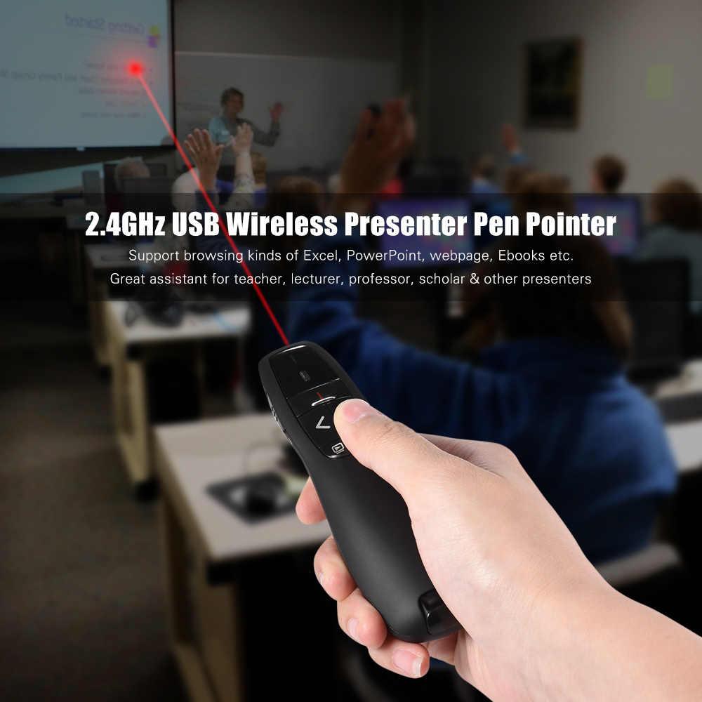 2.4GHz Wireless USB Powerpoint Presentation PPT Flip Pen Pointer Clicker Presenter Built-in Reciver Red Light Remote Control