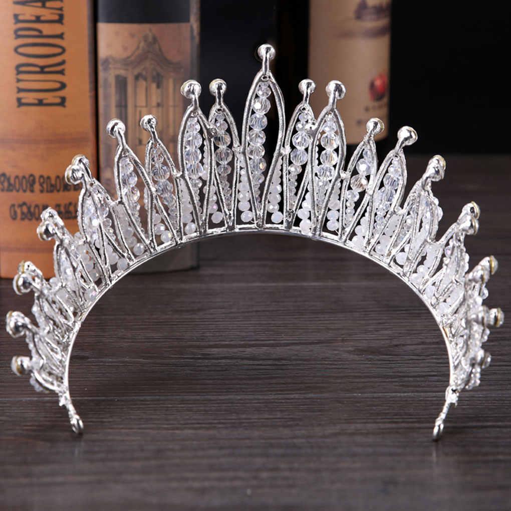 New Bridal Shining Rhinestones Crystal Hairband Princess Headwear Pearl Wedding Hair Hoop Pageant Headband