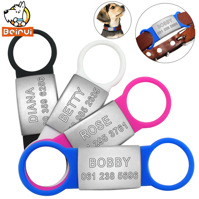 Us 2 75 40 Off Personalized Dog Tag Tensile Rubber Stainless Steel Id Tags Customized Anti Lost Tag For Small Medium Large Dogs Cats Pet In Id Tags