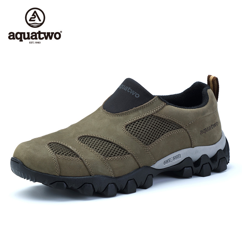 ФОТО AQUA TWO High Quality Men's Full Grain Leather Outdoor Trekking Hiking Breathable Shoes For Men Climbing Mountain Trail Shoes
