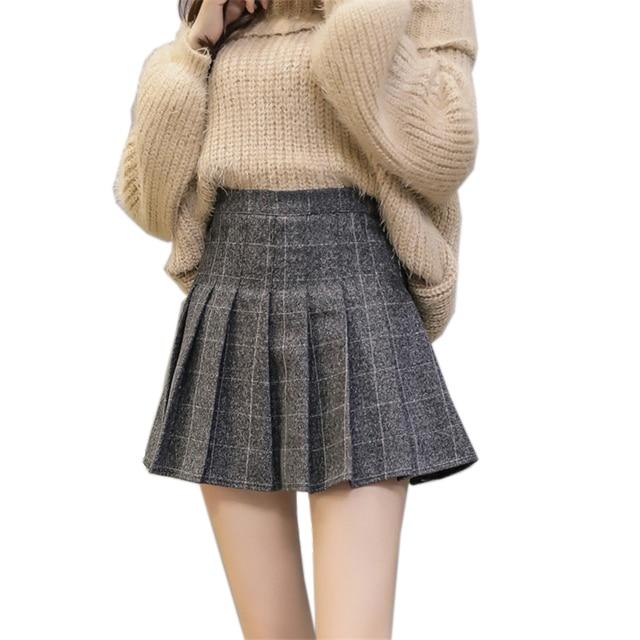 cc07ff823e 2018 Autumn High Waist Pleated A-line Skirts Girls Harajuku Woolen Plaid  Skirts Sailor Mini